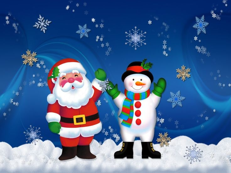 Santa Claus with Snow man Christmas Wallpapers