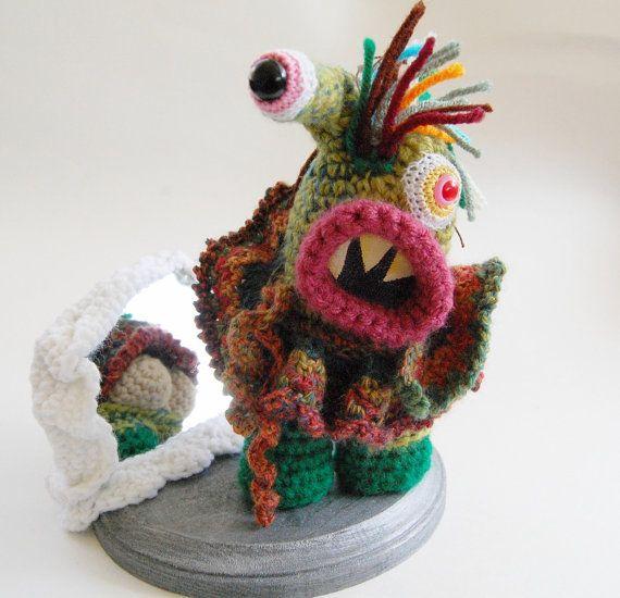 Commando Kate Crocheted Monster Sculpture OOAK Collectible Art
