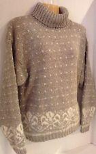ALPS Women's Turtleneck Sweater Wool Mohair Blend Ski Sweater Gray Size Large
