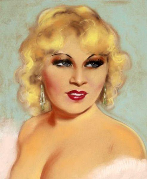 "Mae West. Artist: Henri Sabin, original artwork for a movie magazine cover. Pastel on paper, 19"" x 15.5.""  (Bizarre Los Angeles)"