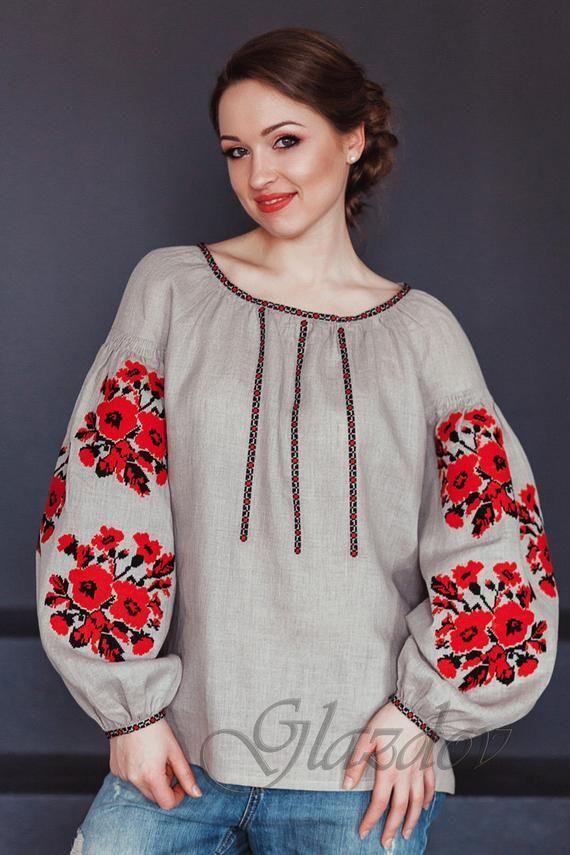 Kreuzstichbluse Wyschywanka Ukrainische Gestickte Wyschywanka Etsy In 2020 Embroidered Clothes Embroidered Blouse Linen Women