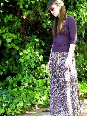 noestrivial Outfit  estampado hippy Falda Larga boho chic malva print lila  Primavera 2012. Cómo vestirse y combinar según noestrivial el 31-5-2012