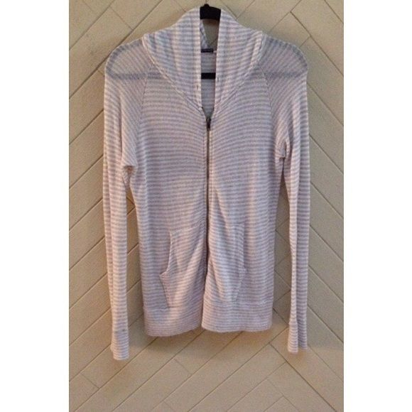 Brandy Melville Sheer Striped Zip-Up Hoodie Sheer striped zip-up hoodie by Brandy Melville. So soft and cozy! I believe this zip-up is from when Brandy Melville first came out in 2009. Great pre-owned condition. No rips or stains.  ❌No Trades❌ Brandy Melville Tops Sweatshirts & Hoodies
