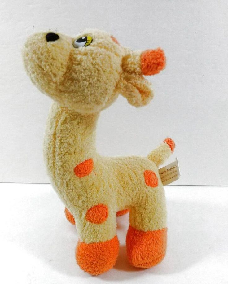 "Plush Appeal Giraffe Yellow Orange Silly Eyes 9"" Soft Stuffed Animal Toy  B250…"