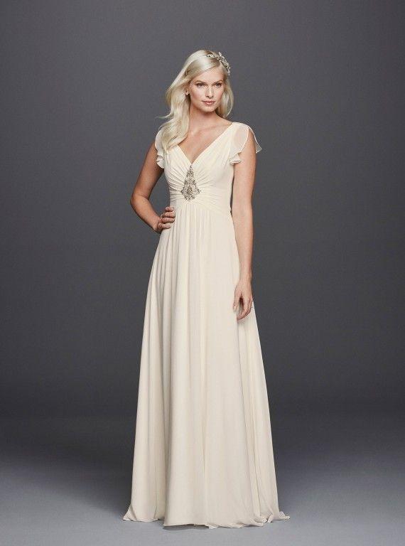 V-Neck Flutter Embellished Wedding Dress, £553.20, Jenny Packham for David's Bridal