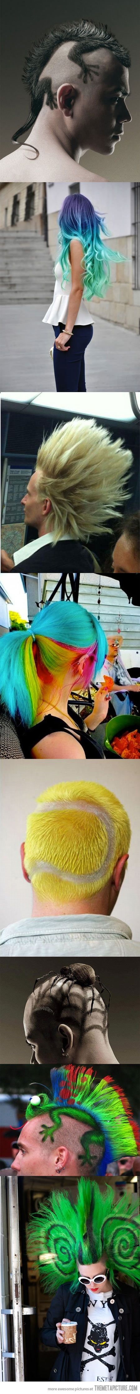 Unconventional Haircuts...love the rainbow one! The rest are a too crazy for me.
