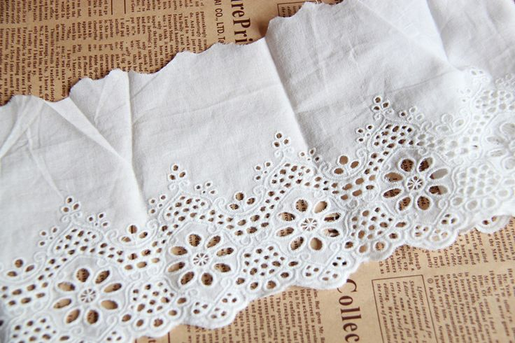 CL017 Free Shipping 15 yards/lot 14CM Wide Dyeable Fashion White Embroideried Cotton Lace Trim  $29.80
