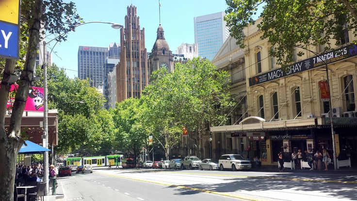 Looking West towards the corner of Collins & Swanston Streets