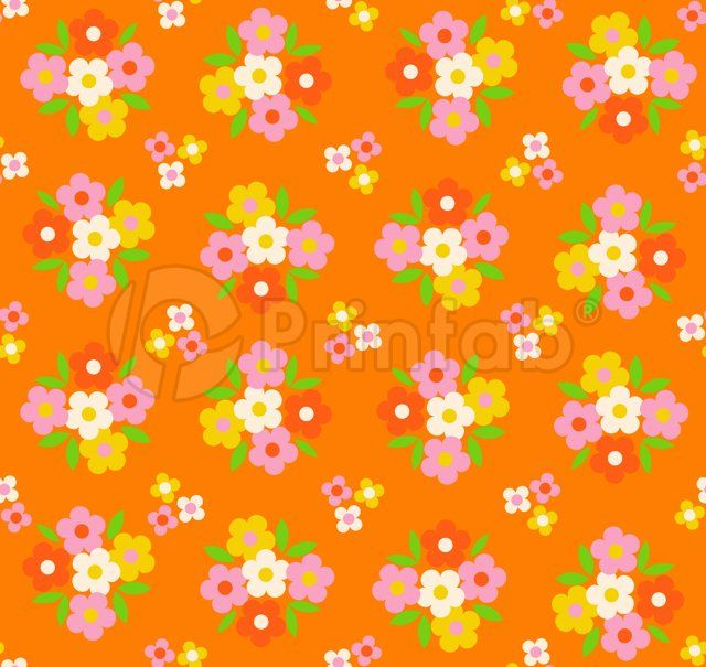"""Pretty Posies Tangerine"" fabric from Prinfab®. Credit: alice apple. URL: https://prinfab.com/product/view/2aKQcr. Description: A pretty retro floral print on a tangerine orange background. Keywords: retro, vintage, floral, daisy, pretty, 60s, 70s, 40s, orange, bright, bold, mod, ditsy"