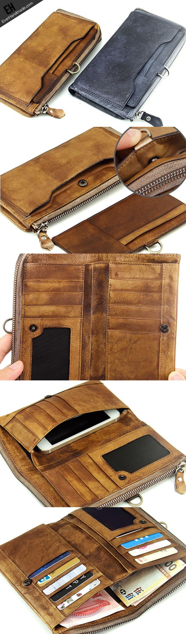 Handmade men long leather wallet men vintage brown gray long wallet for him