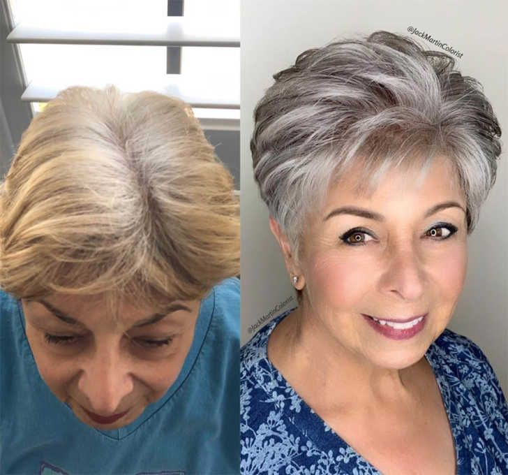 Hairstylist Shares Gorgeous Photos Of People Embracing Their Gray Hair In 2020 Gorgeous Gray Hair Grey Hair Transformation Blending Gray Hair