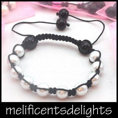wedding / petite / childrens pearlised white shamballa beaded bracelet kids £4.99 free shipping