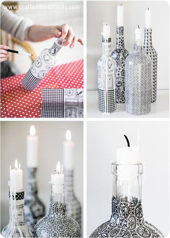 Pretty diy self bottle candle holders Brush decoupage lacquer around the outside of the bottle and place your decoupage paper around it. Instead of decoupage paper you can use the top layer of a patterned napkin or tissue paper. Add another coating of decoupage lacquer on top of the paper, let dry for 24 h and cure in the oven at 160°C for 30 minutes.