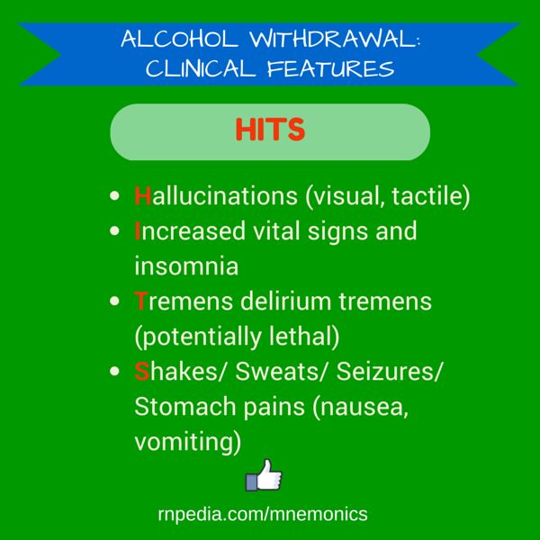 Alcohol withdrawal: clinical features