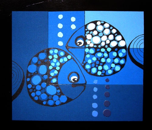 Small collage with blue fishes https://www.facebook.com/artedo.artadecorativa