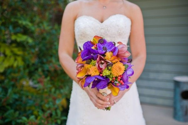 Colorful purple and orange rustic bouquet