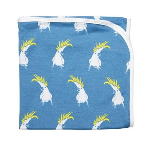 Baby Wrap - Cockatoo Generously sized baby swaddle/wrap blanket. Grows with baby and can be used as a pram blanket or even a cot sheet. Coordinating with matching hat it's the perfect baby shower gift or welcoming layette.  Pop Cockatoo with forget-me-not-blue background.  Size: 110x110cm