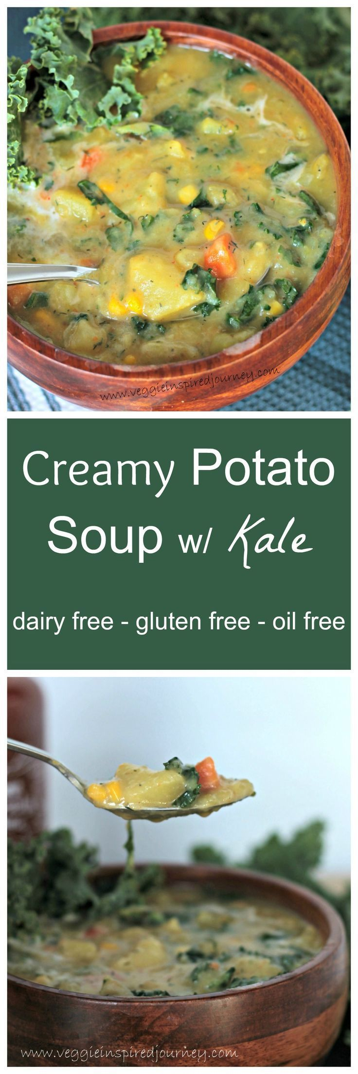 Creamy Dairy Free Potato Soup w/ Kale - so thick and delicious. Thickened only by pureeing some of the potatoes. This soup is gluten free and vegan!