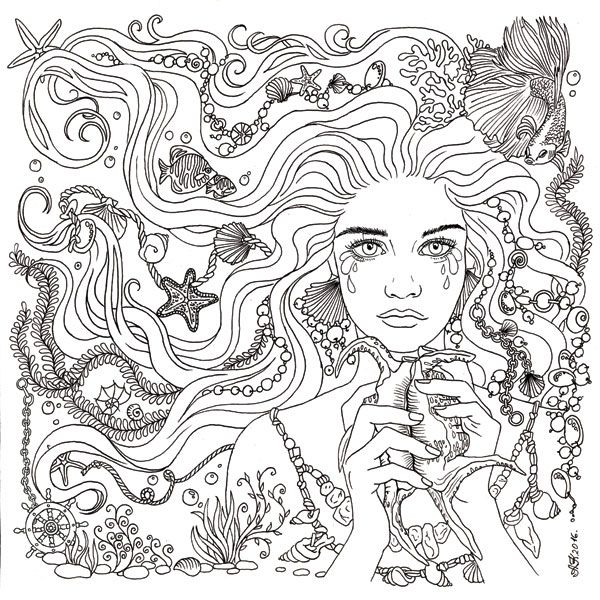 285 best Mermaid Coloring Pages for Adults images on Pinterest