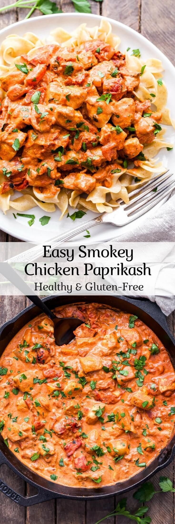 Easy Smokey Chicken Paprikash is a healthy, one skillet version of traditional chicken paprikash. Serve over egg noodles.