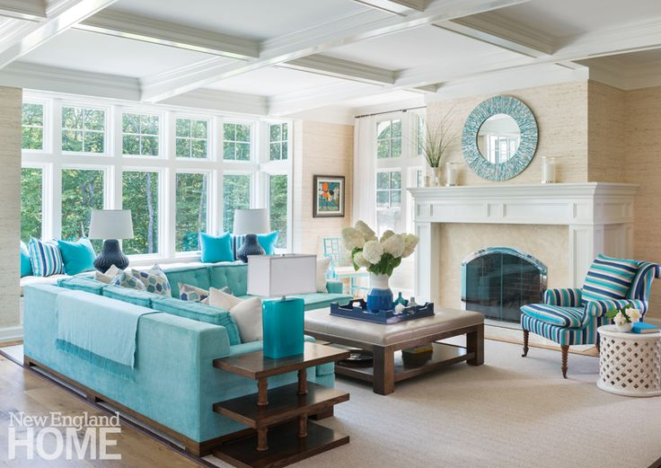 gorgeous living room with turquoise sectional