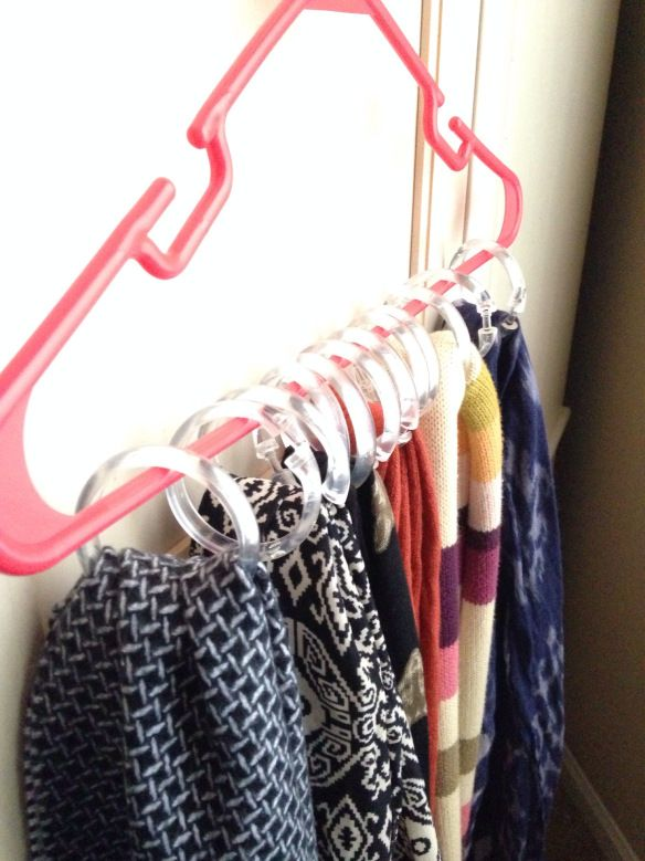 Simple closet organization for your scarves! #storage #organization #closet #forthehome: Shower Curtain Rings, Scarfs Organizations, Organizations Scarves, Shower Curtains Rings, Simple Closet, Tanks Tops, Closet Organizations, Great Ideas, Scarfs Storage