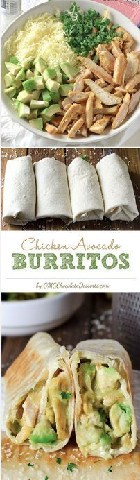 Simple to make, delicious to eat, and oh so healthy! These Chicken Avocado Burritos are amazing! Great Recipe!