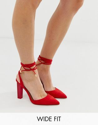 577e940853 ASOS DESIGN | ASOS DESIGN Wide Fit Pucker Up tie leg pointed high heels