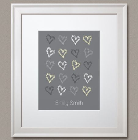 """Choose a colour! Personalize it, and make it your own! """"Personalized Scribbled Hearts"""" prints by Simple Sugar Design"""