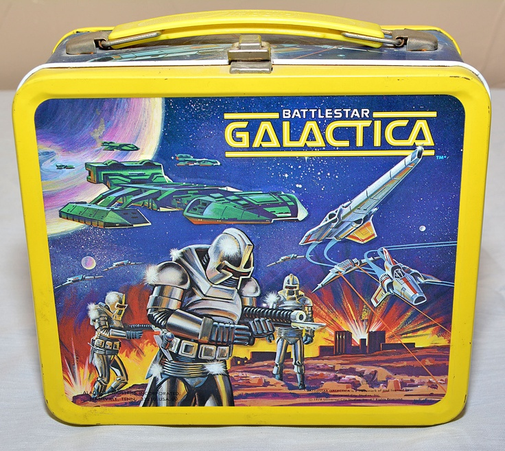 Battlestar Galactica Lunch Box & Thermos (1978 Vintage Metal Aladdin Lunchbox, Antique Science Fiction TV Show Lunchboxes)