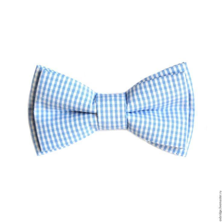 Купить Галстук-бабочка в мелкую голубую клеточку из хлопка - галстук бабочка, галстук бабочка купить
