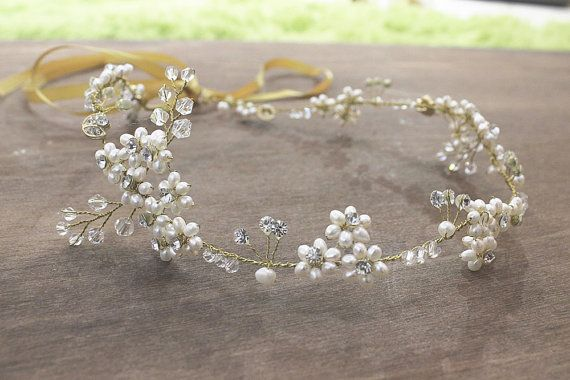 Boho Bridal Wedding Vine Halo Freshwater Pearl by BoheWedding