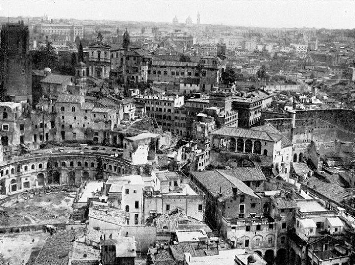 Foto storiche di Roma - Quartiere Alessandrino. Vista della zona ove si sono eseguite le demolizioni per il tracciamento di Via dell'Impero