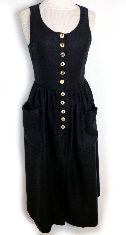 ☆ MOTHWURF schlichtes schwarzes Leinenkleid Trachtenkleid Dirndl ☆