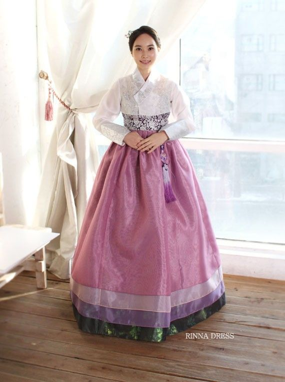 [CO33]Multicolored Layered Skirt With Floral Jacket Hanbok Wedding Dress