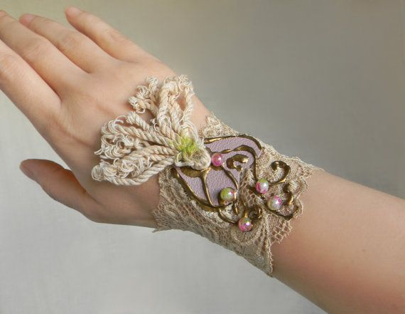 Leather and lace wrist cuff Shabby Chic Jewelry by Elyseeart