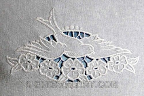 Cutwork lace dove machine embroidery