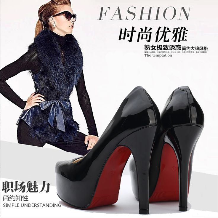 Japanned leather sexy ultra high heels single shoes queen ol platform thin heels black red wedding shoes alishoppbrasil
