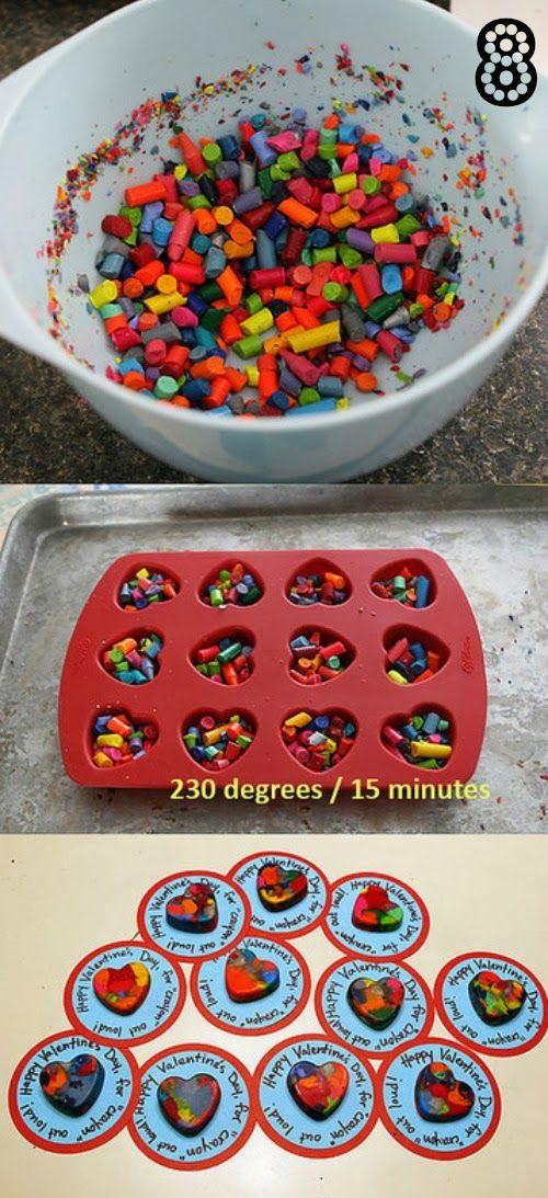 derretir crayones en molde de horno, 15 minutos a 230º y te quedan preciosos para tarjetitas de san valentin