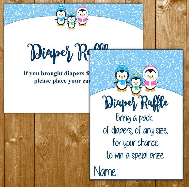 Penguin Diaper Raffle Baby Shower Invitation Insert, Baby Shower Diaper Raffle Boy Baby Shower, PN003B, Instant Download