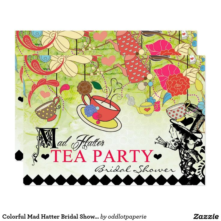 mad hatter teparty invitations pinterest%0A Colorful Mad Hatter Bridal Shower Invitation
