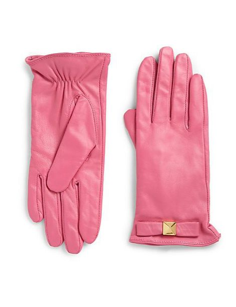 These leather gloves would add a fun pop of pink to any ensemble.