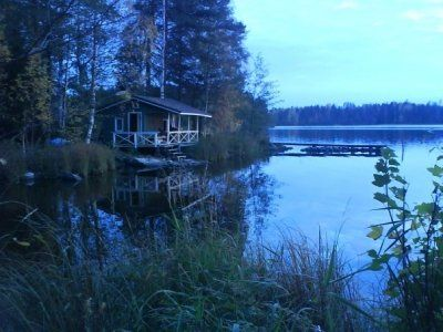 Traditional Finnish sauna by the lake