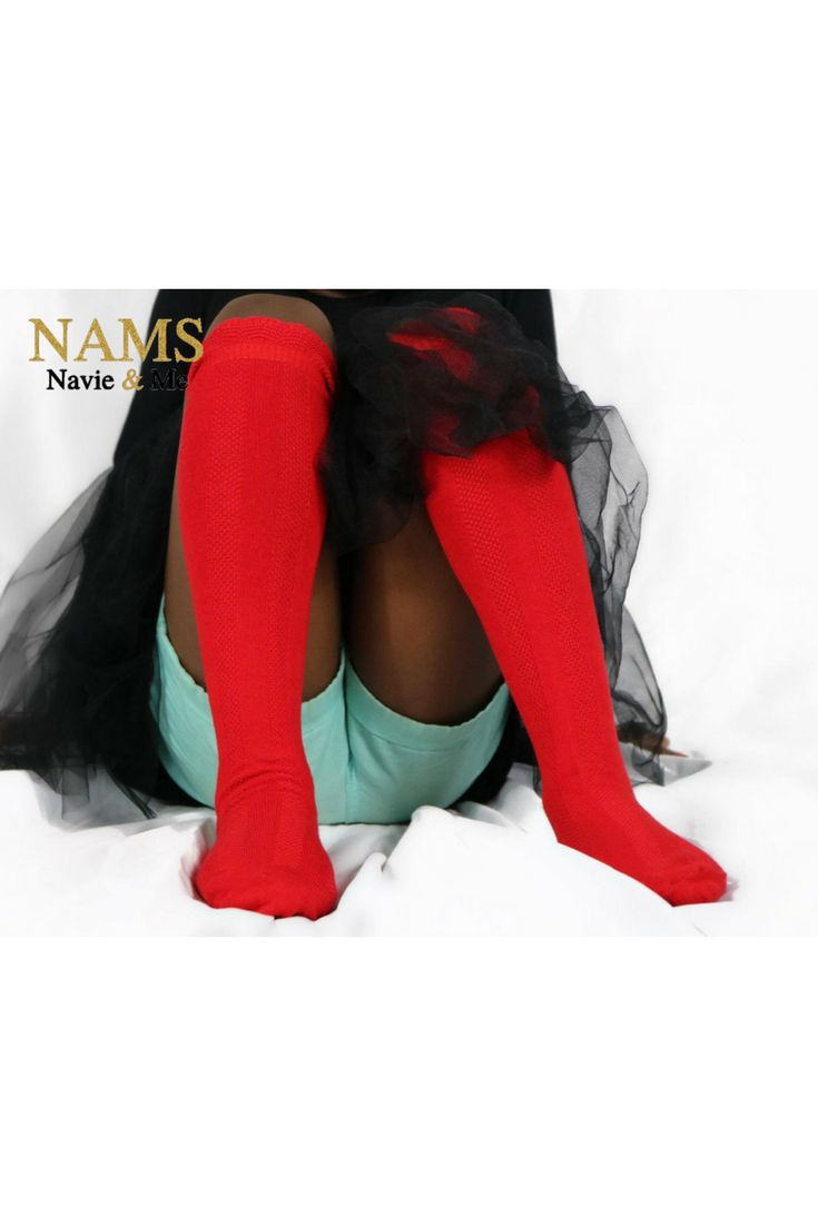 $9.88| Cute red baby knee high socks. Grab a pair of these red socks to make the perfect Valentines Day outfit for baby. www.NavieAndMe.com #cute #red #kneehighsocks #redsocks #socks #valentinesday #babyoutfit #fashion #kids #outfit #style