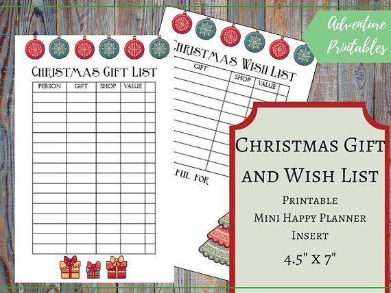 Christmas Gift List And Christmas Wish List For The Mini Happy