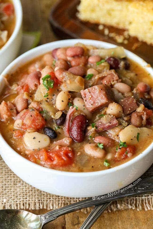 Crock Pot Ham and Bean Soup is the perfect meal to come home to and easy to make. No soaking is required, just place your ingredients in the slow cooker and this recipe is effortless! Dinner is ready when you are!