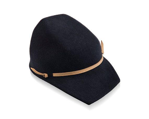 Felt visor Hat Mens Felt Hat Mens felt cap mens hat blue