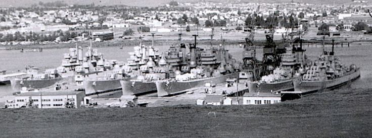 k Mare Island Naval Shipyard, Vallejo, CA, 31 March 1963. From Right to Left: Unknown Cleveland Class Light Cruiser, USS Vicksburg (CL 86), USS Bremerton (CA 130), USS Worcester (CL 144), USS Roanoke (CL 145), USS Tucson (CLAA 98) [not technically 1910-1950, but ships from that era]