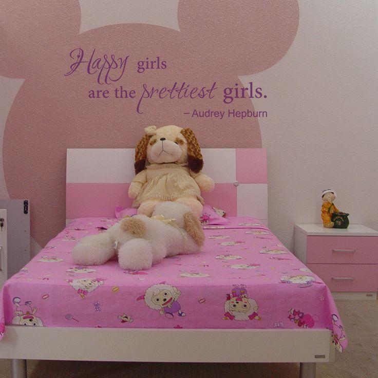 Счастливые Девушки самые Красивые Девушки-Одри Хепберн Винил Наклейки На Стены Слова Девушки Общежитие Декор Комнаты Подростка 22 x8
