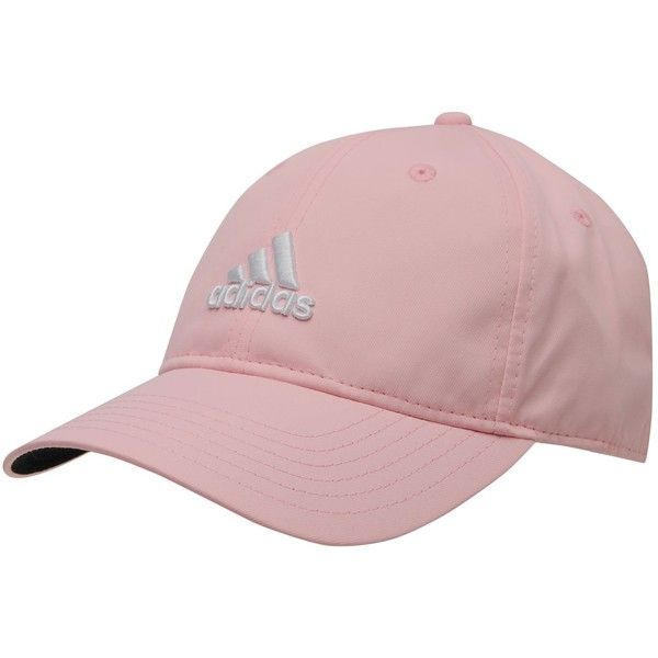 Adidas Performance Max Side Hit Baseball Cap Golf Hat Relaxed Fit ($20) ❤ liked on Polyvore featuring accessories, hats, pink ball cap, golf hats, pink hat, pink baseball hat and adidas